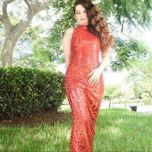 Long red glitter prom dress